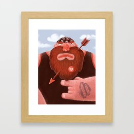 Biker in love Framed Art Print