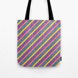 Pink & Purple Glitter Neon Stripes Tote Bag