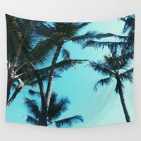 palm trees Wall Tapestries featuring Palm Trees by Alexandra Str
