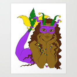 Mardi Gras Mermaid 2 Art Print