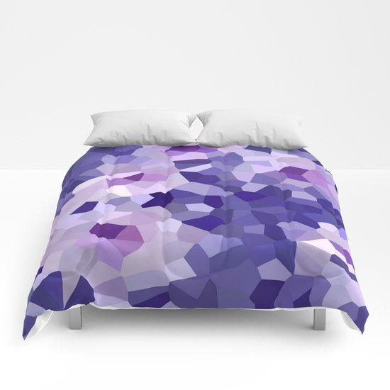 abstract floral in blue and purple shades Comforters