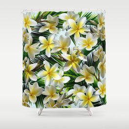 Plumeria on Palm Leaves Shower Curtain