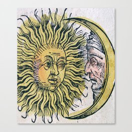 Sun and Moon Faces Canvas Print