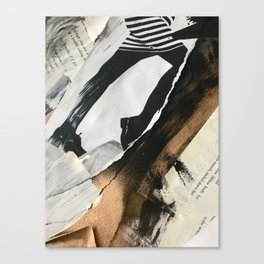 Stay   Collage Series 2   mixed-media piece in gold, black and white + book pages Canvas Print