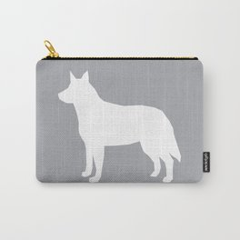 Australian Cattle Dog silhouette portrait dog pattern minimal grey and white Carry-All Pouch