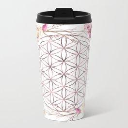 Flower of Life Rose Gold Garden Metal Travel Mug