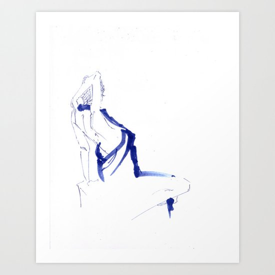 ...In a Blue Dress Art Print