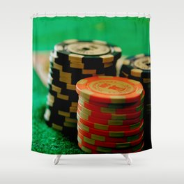 Casino Chips Stacks-Color Shower Curtain