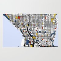mondrian Area & Throw Rugs featuring Seattle Mondrian by Mondrian Maps