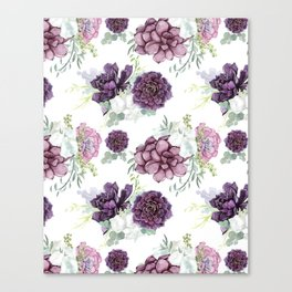 Succulents Deep Violet Lavender Pastel Green Lilac PatternSee Nature Magick for more pretty pastel c Canvas Print