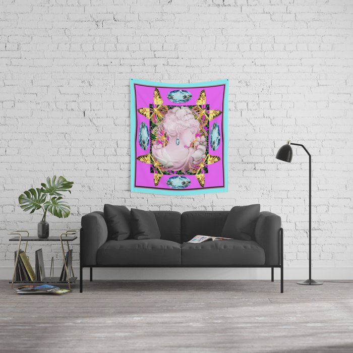 Aquamarine-Purple Yellow Butterfly Princess Design Wall Tapestry