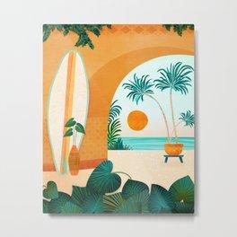 Seaside Surf Retreat Tropical Landscape / Villa Series Metal Print