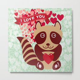 funny raccoon with red heart. I love you Metal Print