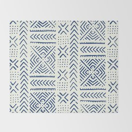 Line Mud Cloth // Ivory & Navy Throw Blanket