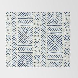 Line Mud Cloth // Ivory & Navy Throw Blanket