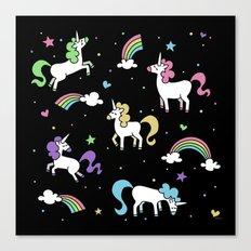Unicorns and Rainbows - Black Canvas Print
