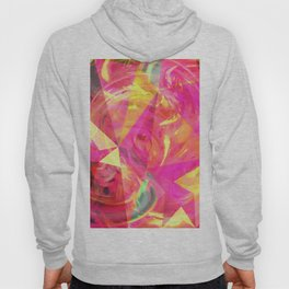 psychedelic geometric triangle polygon pattern abstract in pink and yellow Hoody