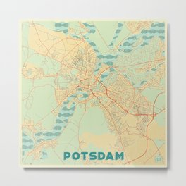 Potsdam Map Retro Metal Print