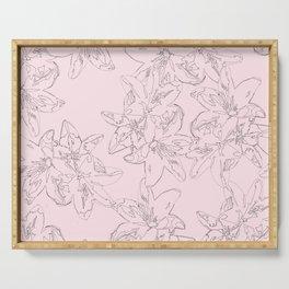 pink line art floral pattern Serving Tray
