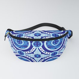 Blue and white monograms. Porcelain. Fanny Pack
