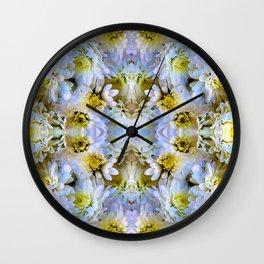 Bue Yellow Pastel Chrysanthemums Design Wall Clock