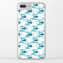 Cute shoal of fish swimming in sea water. Clear iPhone Case