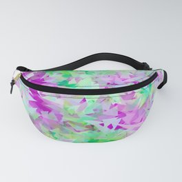 psychedelic geometric triangle abstract pattern in purple and green Fanny Pack