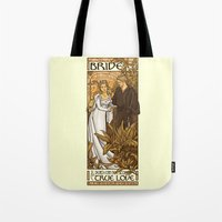 bride Tote Bags featuring Bride by Karen Hallion Illustrations