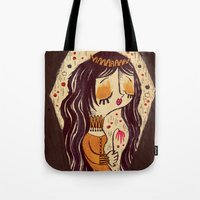 snow white Tote Bags featuring Snow White by Pigologist
