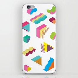 blocks isometric Color Design elements in the Memphis style iPhone Skin