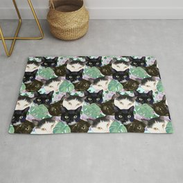 Cat Faces, Magnolia Flowers and Monstera Leaves Rug