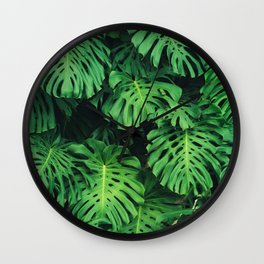 Monstera leaf jungle pattern - Philodendron plant leaves background Wall Clock