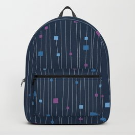 Squares and Vertical Stripes - Cold Colors on Blue - Hanging Backpack