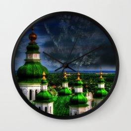 Domes of Trinity Cathedral, Chernigov, Ukraine Wall Clock