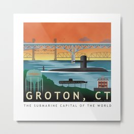 Groton, CT - Retro Submarine Travel Poster Metal Print