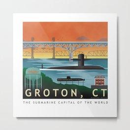Groton, CT - Retro Submarine Travel Poster Metal Print