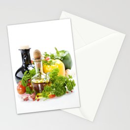 vegetables still life with olive oil and vinegar on white background Stationery Cards