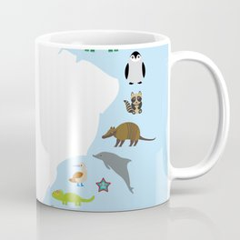 South America sloth anteater toucan lama armadillo manatee monkey dolphin Maned wolf raccoon jaguar Coffee Mug