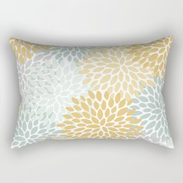 Floral Prints, Yellow Art, With Aqua, Gray, Modern Print Art Rectangular Pillow