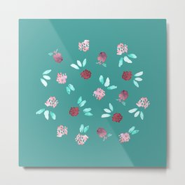 Clover Flowers on Mint Green Metal Print