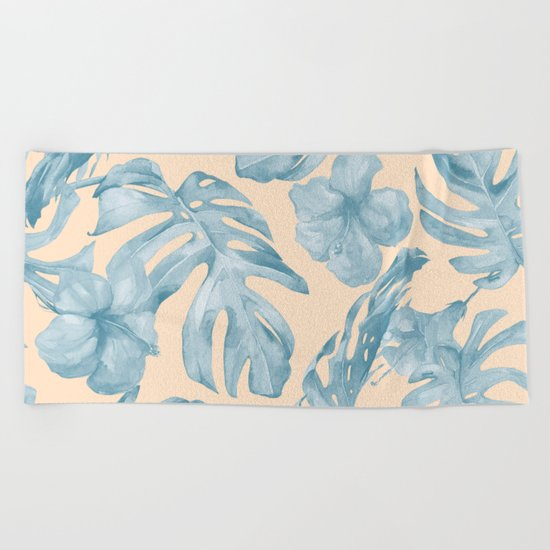 Tropical Leaves Sky Blue on Mango Coral Beach Towel