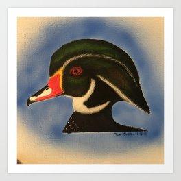 Wood Duck Drake Head Profile Art Print