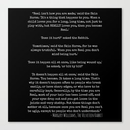Becoming Real - The Velveteen Rabbit Quote Canvas Print
