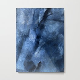 Blue Black Scribble and Scratch Metal Print