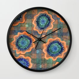 Glowing Fancy Flowers on Checks Wall Clock