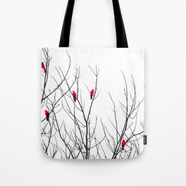 Artistic Bright Red Birds on Tree Branches Tote Bag