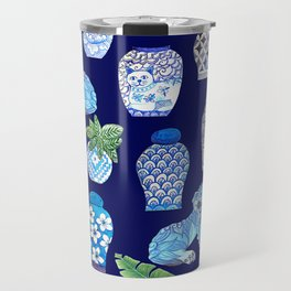 Chinese Ginger Jars and Foo Dogs, Chinoiserie, Hampton's Style Travel Mug
