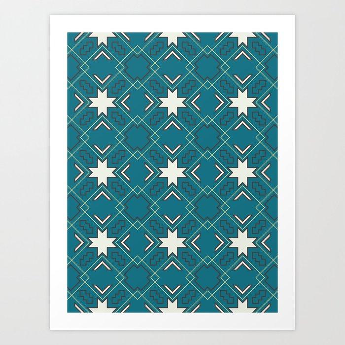 Ethnic pattern in blue Art Print
