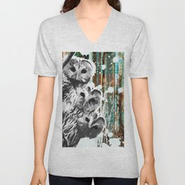 Rusty Owls in the Snow Unisex V-Neck