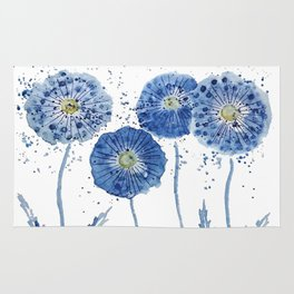 four blue dandelions watercolor Rug